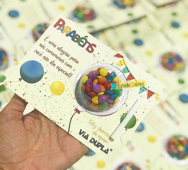 Cartão Alegria Brinde Aniversário do Funcionário Via Dupla